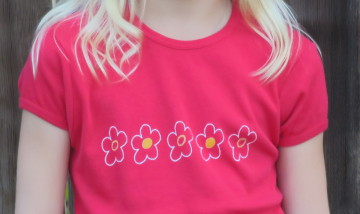 Red whimsical flowers shirt