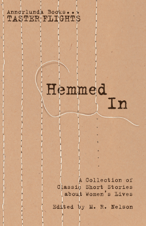 "Hemmed In book cover. Incomplete stitched ""bars"" over the title."