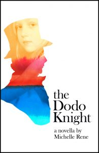 The Dodo Knight book cover, a top-hatted man's silhouette with a rainbow-washed picture of a little gir;l inside