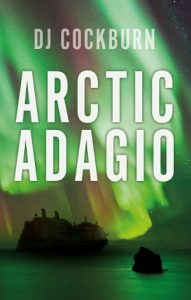 Book cover, with ship in front of the Northern Lights