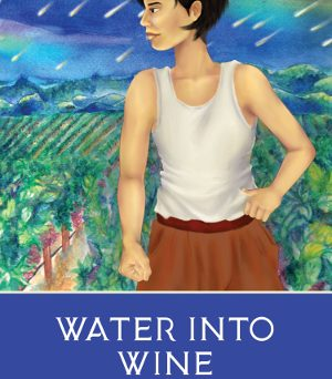 Water into Wine book cover. Person standing in front of vineyard.